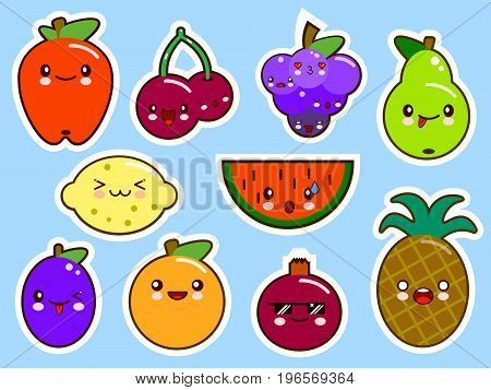 set of fruits smiley face kawaii. Flat design Vector Illustration
