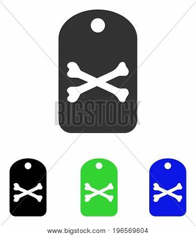 Death Tag vector icon. Illustration style is a flat iconic colored symbol with different color versions.