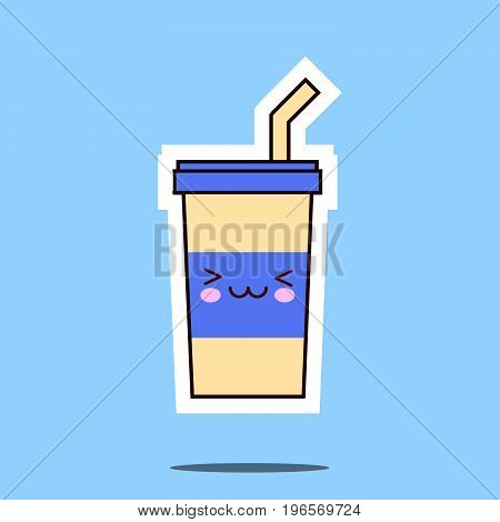 kawaii soda cup character cartoon emoticon face icon. Flat design Vector Illustration