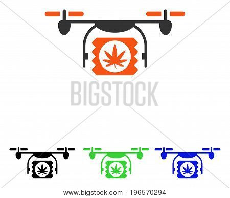 Drugs Drone Shipment vector pictogram. Illustration style is a flat iconic colored symbol with different color versions.