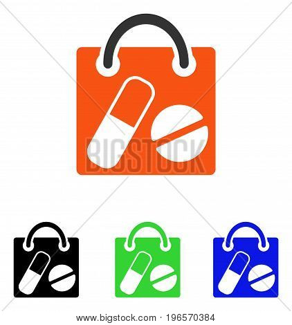 Drugs Shopping Bag vector icon. Illustration style is a flat iconic colored symbol with different color versions.
