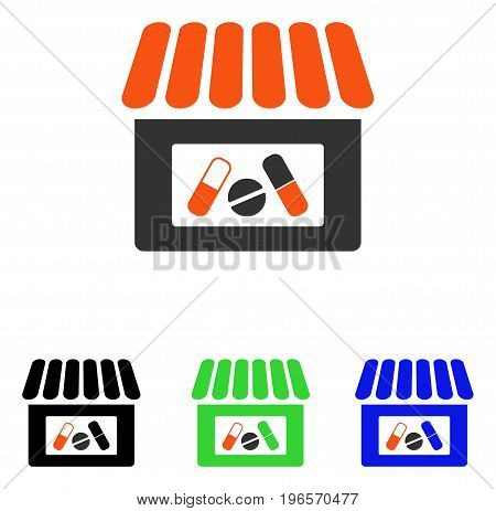 Drugstore vector pictogram. Illustration style is a flat iconic colored symbol with different color versions.