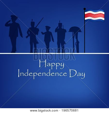 illustration of soldiers, Costa Rica flag and rifle in hat with Happy Independence Day text on the occasion of Costa Rica Independence Day