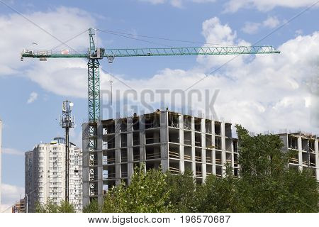 Construction, High-rise, Building Tower Crane Close Up