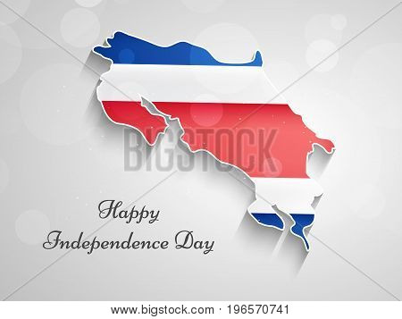 illustration of Costa Rica Map in Costa Rica flag background with Happy Independence Day text on the occasion of Costa Rica Independence Day