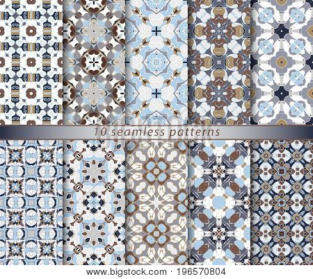 Set of ten classic seamless patterns in shades of blue, brown and white. Decorative and design elements for textile, manufacturing, wallpapers, gift wrap.