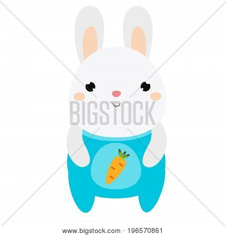 Cute rabbit. Bunny in jumpsuit. Little hare. Cartoon kawaii animal character. Vector illustration for kids and babies fashion