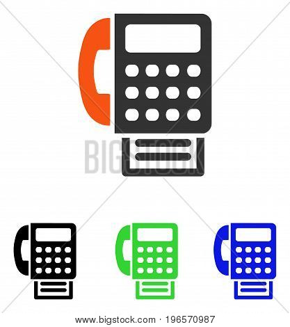 Fax vector pictogram. Illustration style is a flat iconic colored symbol with different color versions.