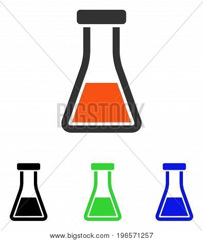 Flask vector pictograph. Illustration style is a flat iconic colored symbol with different color versions.