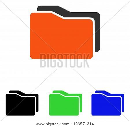 Folders vector icon. Illustration style is a flat iconic colored symbol with different color versions.