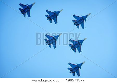 Moscow Region - July 21, 2017: Aerobatic display team
