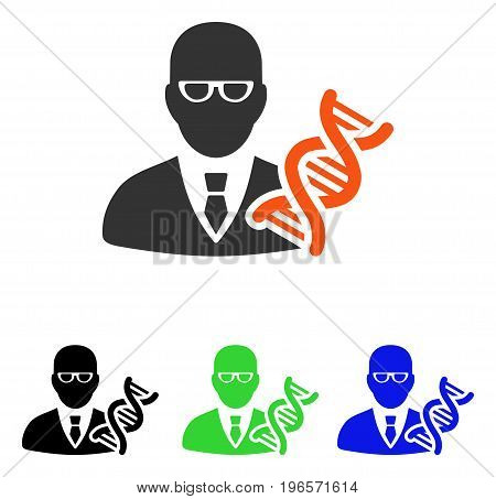 Genetic Engineer vector icon. Illustration style is a flat iconic colored symbol with different color versions.