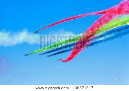 Moscow Region - July 21, 2017: Aerobatic display team from the United Arab Emirates at the International Aviation and Space Salon (MAKS) in Zhukovsky.