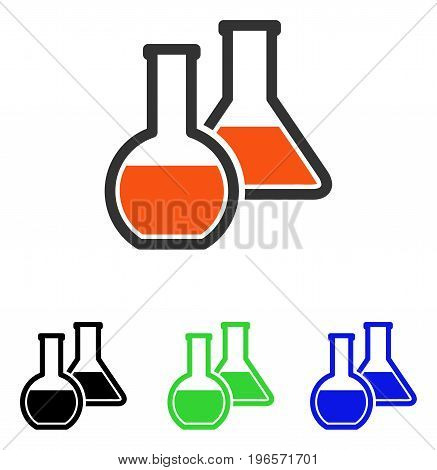 Glass Flasks vector icon. Illustration style is a flat iconic colored symbol with different color versions.