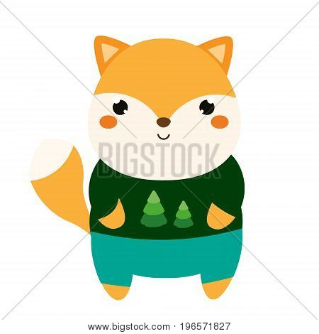 Cute fox. Kawaii cartoon animal character in clothes. Vector illustration for kids and babies fashion