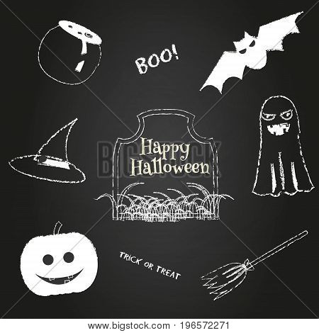 Halloween icons on chalkboard. Traditional holiday symbols pumpkin, ghost, bat, hat and other