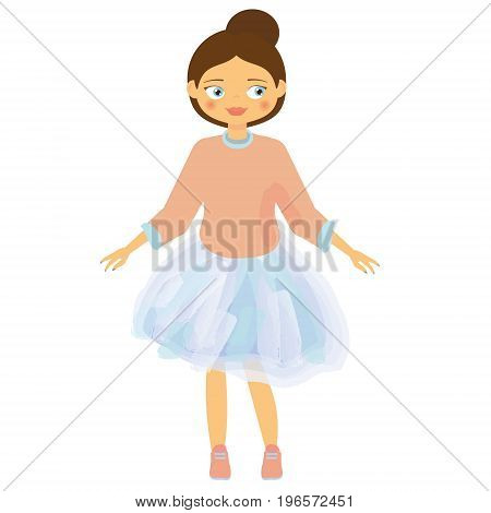 Beautiful Girl in blue tutu skirt and pink sweatshirt. Kids fashion. Brown hair cartoon child. Vector illustration