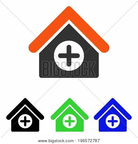 Hospital vector pictograph. Illustration style is a flat iconic colored symbol with different color versions.