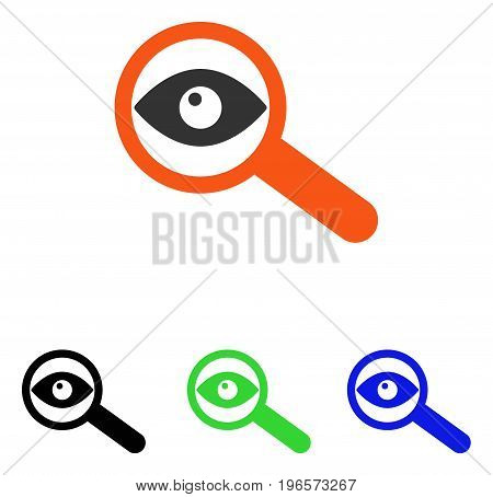 Investigate vector icon. Illustration style is a flat iconic colored symbol with different color versions.