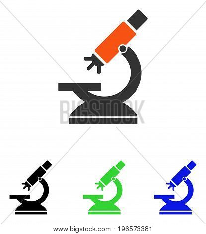 Labs Microscope vector pictograph. Illustration style is a flat iconic colored symbol with different color versions.