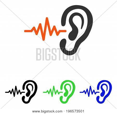 Listen vector pictogram. Illustration style is a flat iconic colored symbol with different color versions.
