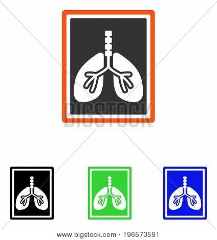 Lungs X-Ray Photo vector pictogram. Illustration style is a flat iconic colored symbol with different color versions.