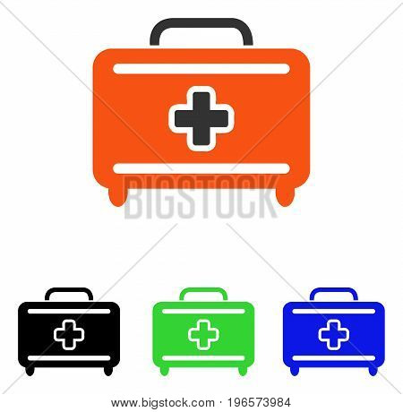 Medical Baggage vector pictograph. Illustration style is a flat iconic colored symbol with different color versions.