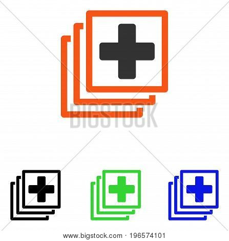 Medical Docs vector pictograph. Illustration style is a flat iconic colored symbol with different color versions.