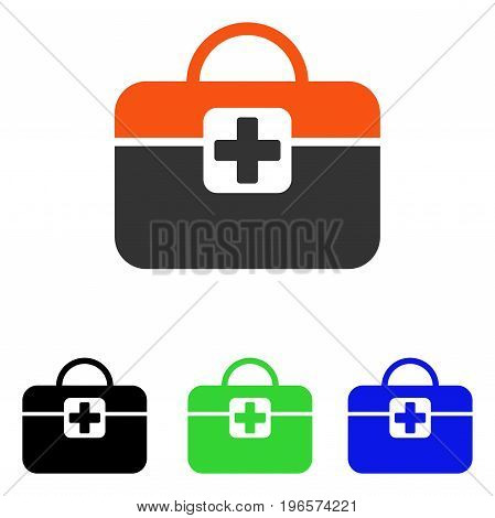 Medical Kit vector icon. Illustration style is a flat iconic colored symbol with different color versions.