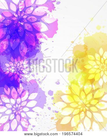 Purple and yellow watercolored background with abstract flower. Square shaped.
