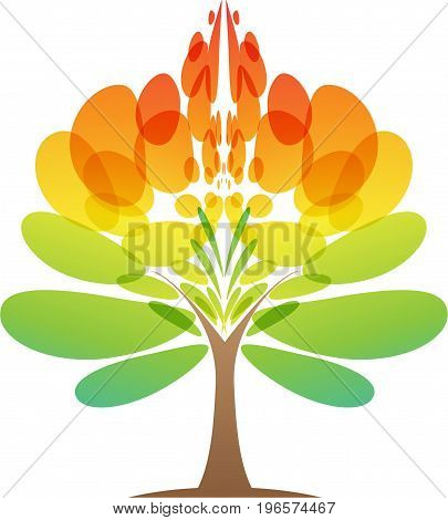 Colorful tree icon on white background, vector illustration