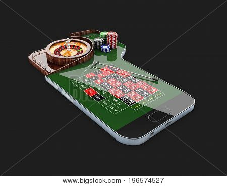 casino roulette wheel with casino chips on phone screen. 3d illustration