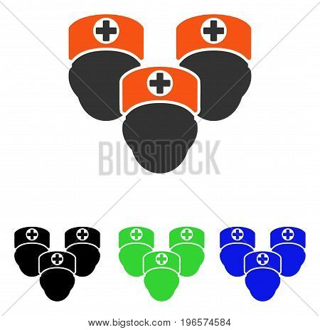 Medical Staff vector pictogram. Illustration style is a flat iconic colored symbol with different color versions.