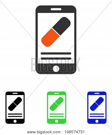 Medication Online Information vector pictogram. Illustration style is a flat iconic colored symbol with different color versions.