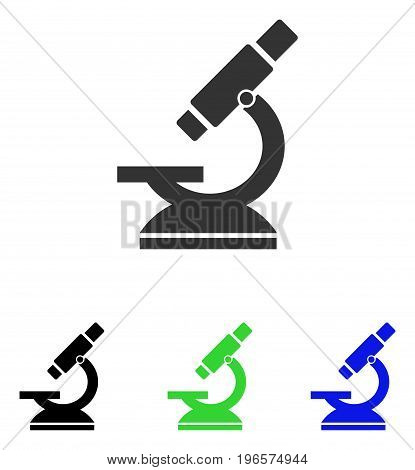 Microscope vector icon. Illustration style is a flat iconic colored symbol with different color versions.