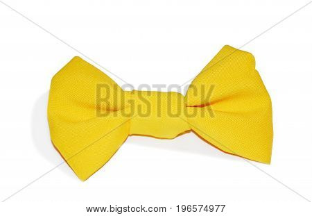 Yellow bow tie isolated on white background. Clothing accessories