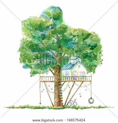 Tree house for kids.Swing, slide,bike and playhouse.Summer image.White background. Watercolor hand drawn illustration.