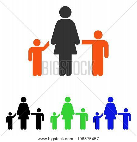 Mother And Children vector icon. Illustration style is a flat iconic colored symbol with different color versions.