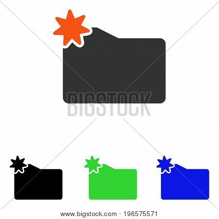 New Folder vector icon. Illustration style is a flat iconic colored symbol with different color versions.