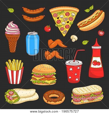 Vector set of fast food hand drawn illustration, with burger, hot dog, pizza, sandwiches, hamburger, soda cup, ice cream, French fries, soda can, donut, coffee cup, ketchup isolated on black
