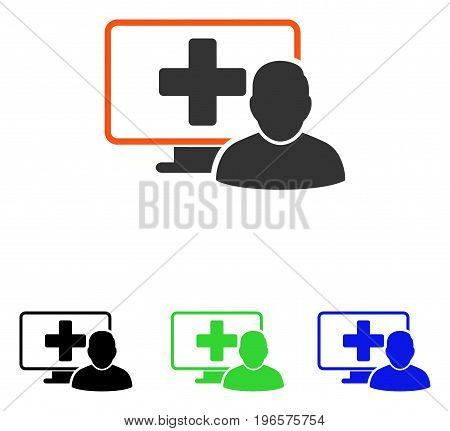 Online Medicine vector pictogram. Illustration style is a flat iconic colored symbol with different color versions.