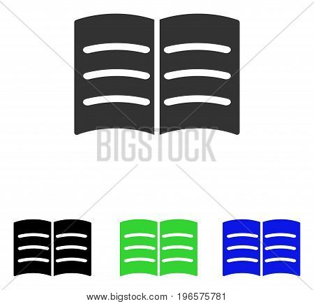 Open Book vector pictogram. Illustration style is a flat iconic colored symbol with different color versions.