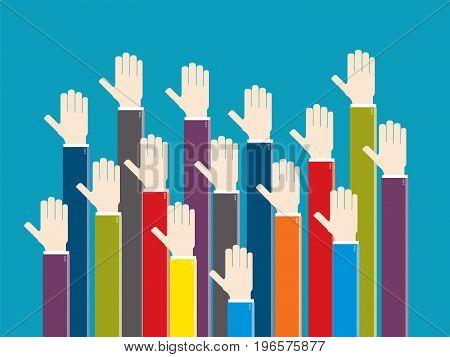 Hands Raised In Voting Sign Or Volunteer.