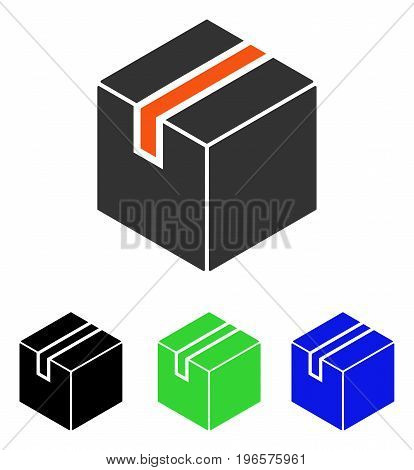 Package vector pictogram. Illustration style is a flat iconic colored symbol with different color versions.