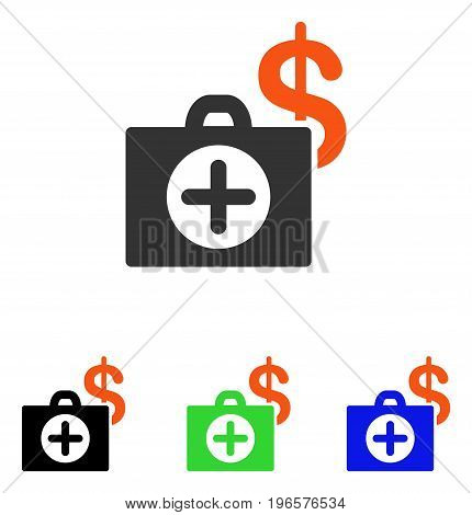 Payment Healthcare Case vector icon. Illustration style is a flat iconic colored symbol with different color versions.