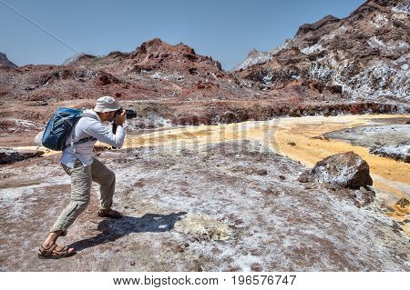 One photographer takes pictures of nature Hormuz Island Hormozgan Province southern Iran.