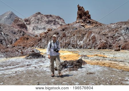 Traveling in Hormuz Island Persian Gulf Hormozgan Province Southern Iran the tourist strolls through the picturesque natural places.