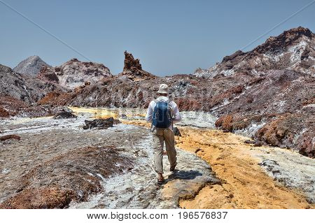 Iranian Island of Hormuz in Persian Gulf Hormozgan Province southern Iran One traveler walking along the bed of the Yellow River.
