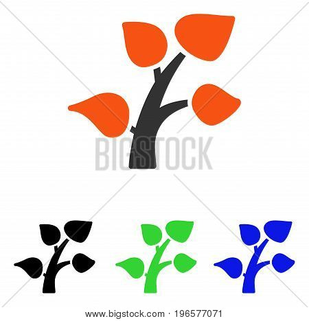 Plant Tree vector icon. Illustration style is a flat iconic colored symbol with different color versions.