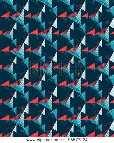 Seamless three-dimensional pattern of triangles. Geometric texture. Spatial structure of the shapes.